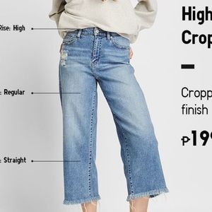Uniqlo high rise cropped jeans